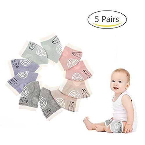Baby Knee Pads for Crawling with Anti-Slip Grip 5 Pairs by MJsmile Boys /& Girls Color Options