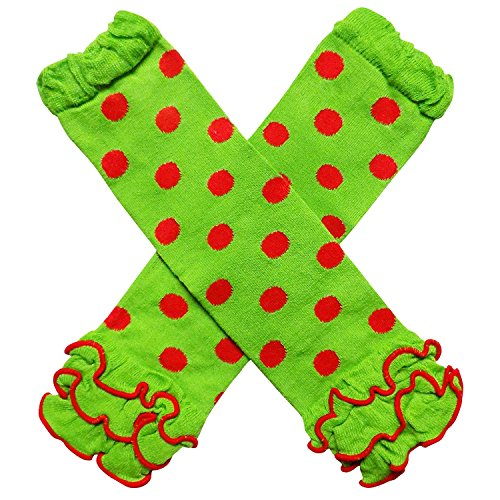e1ae3af80d98d Leg Warmers – Christmas Holiday Winter Party Styles Leg Warmers – One Size  – Baby, Toddler, Girl, Boy (Ruffle Polka Dot Lime & Red)